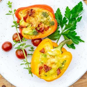 High Protein Stuffed Breakfast Peppers