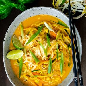 Coconut Curry Noodles With Fresh Vegetables (Vegan, Gluten-Free)
