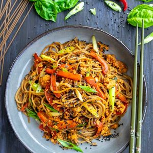 Monday Night Spicy Soba Noodles (Gluten-Free & Vegan Option Included)