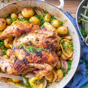 Skillet Roasted Herb Chicken With Lemon Potatoes and Shallots