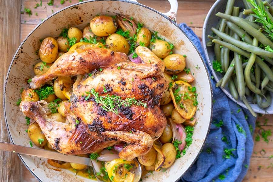 one skillet, roasted chicken, skillet