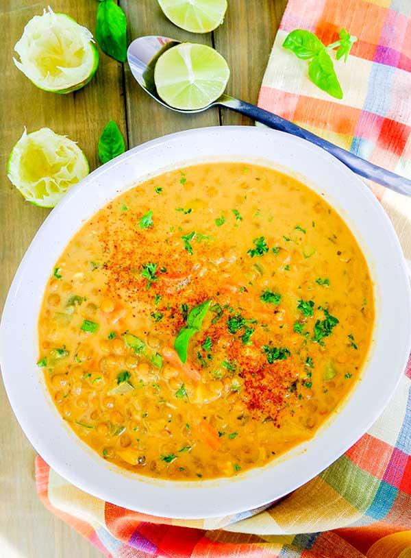 Coconut Curry Lentil Soup (Vegan, Gluten-Free)