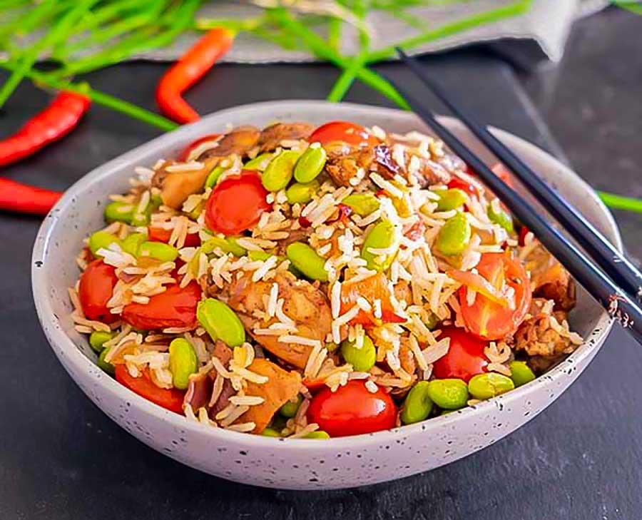 Louisianna chicken with edamame rice