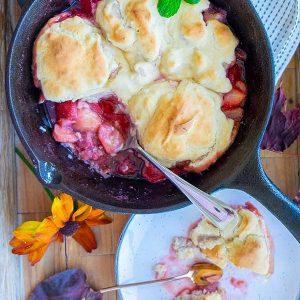 Skillet Strawberry Cobbler with Cinnamon Cream Cheese Biscuits (Gluten-Free)