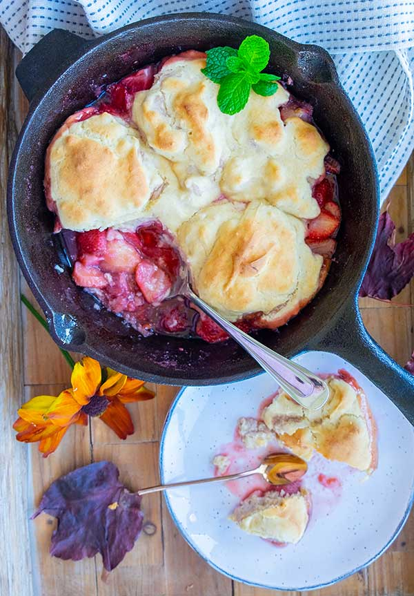 Skillet Strawberry Cobbler with Cinnamon Cream Cheese Biscuits (Gluten-Free)