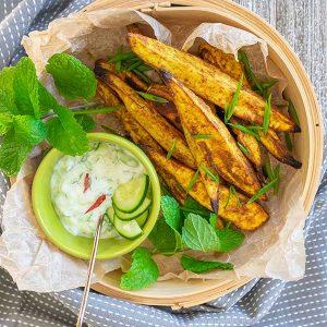 Tandoori Roasted Sweet Potato Wedges With Raita – Vegan