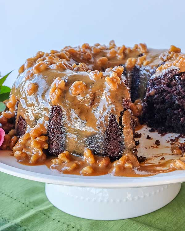 Chocolate Banana Bundt Cake With Coffee Walnut Glaze {Gluten-Free}