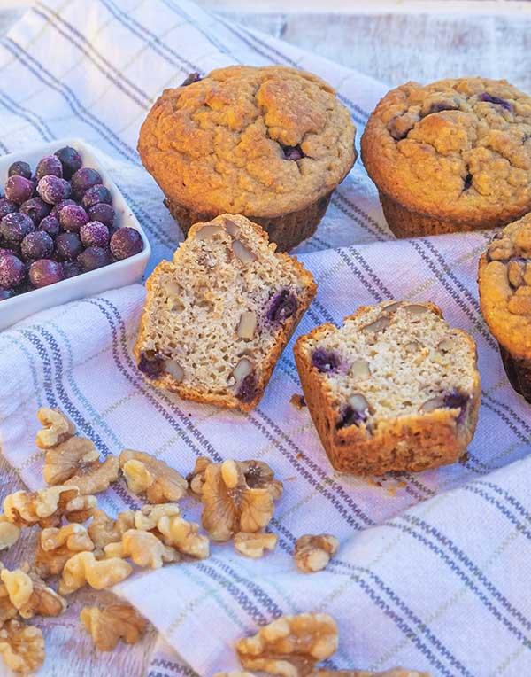 Gluten-Free Blueberry Walnut Eggnog Muffins