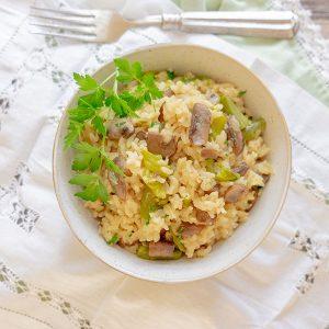 Instant Pot Creamy Mushroom & Asparagus Risotto