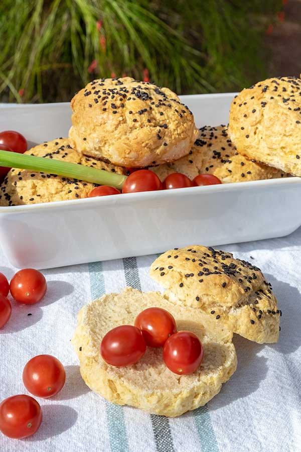 Gluten-Free Sesame Ciabatta Buns {Dairy-Free}