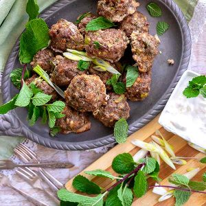 Greek Lamb Meatballs With Yogurt Dip {Gluten-Free}