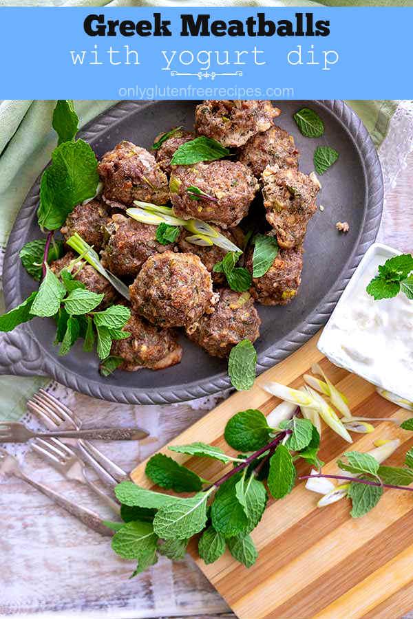Greek Lamb Meatballs With Yogurt Dip {Gluten-Free}