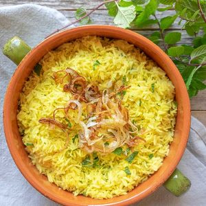 Saffron Rice With Mint & Caramelized Onions {Gluten-Free}