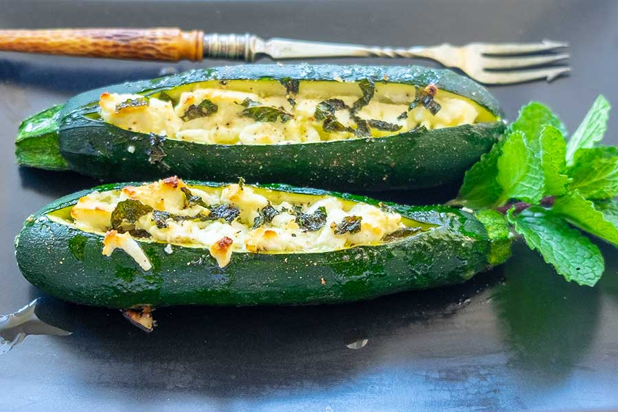 stuffed zucchini, keto