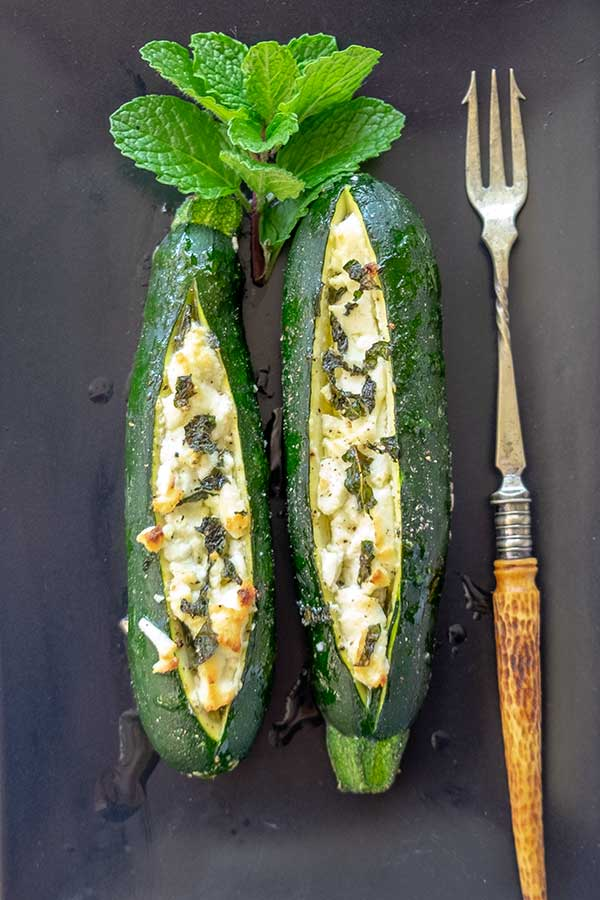 Baked Zucchini With Goat Cheese {Keto, Vegetarian, Gluten-Free}