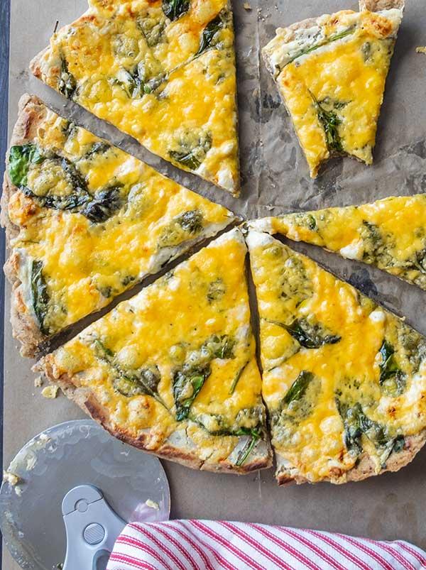 Gluten-Free Alfredo & Spinach Buckwheat Pizza