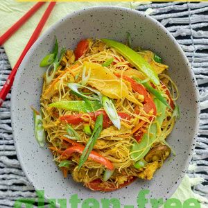 Leftover Turkey Singapore Style Noodles (Gluten-Free)