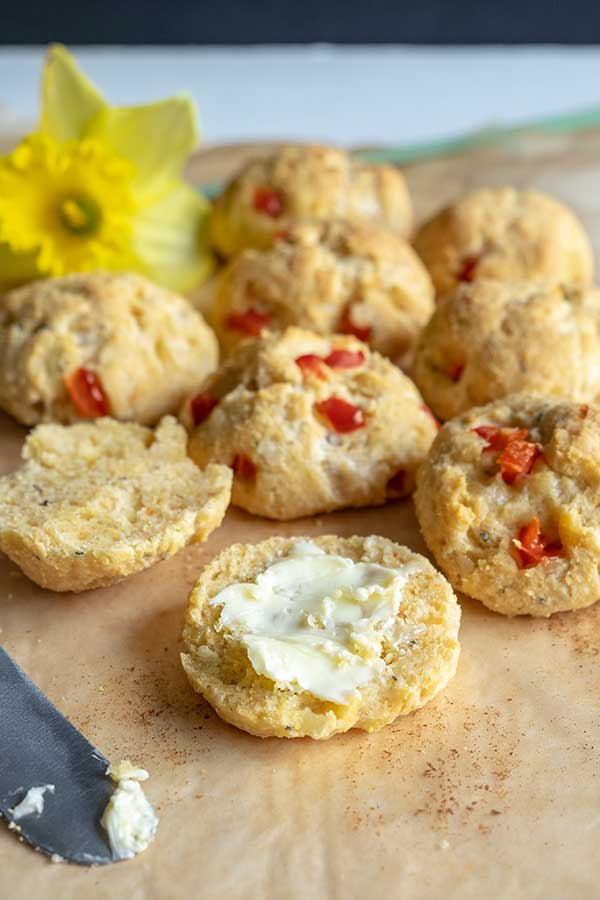 Gluten-Free Mini Scones With Manchego, Red Pepper & Onions