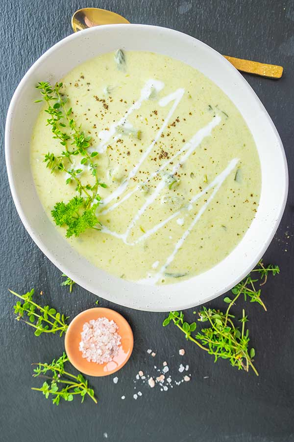 Cream of Asparagus & Leek Soup (Gluten-Free, Keto)