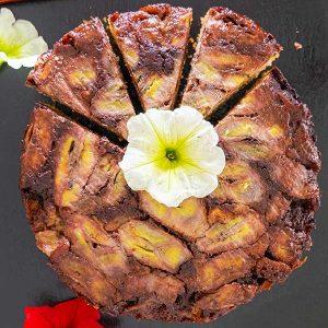 Gluten-Free Chocolate Fudge Banana Upside Down Cake