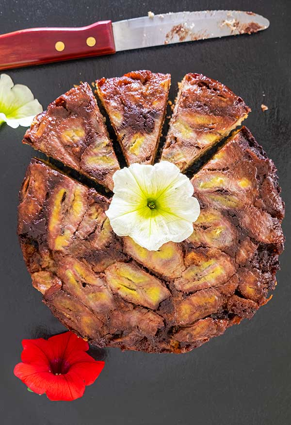 Gluten-Free Chocolate Fudge Banana Upside Down Cake