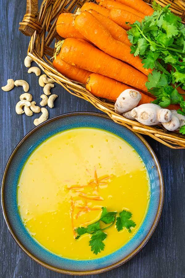 Gluten-Free Creamy Cashew Carrot Ginger Soup