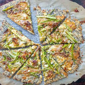 Gluten-Free Sesame Pizza With Shaved Asparagus & Caramelized Onions