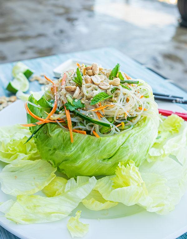 Gluten-Free Vietnamese Noodle Salad Lettuce Bowl