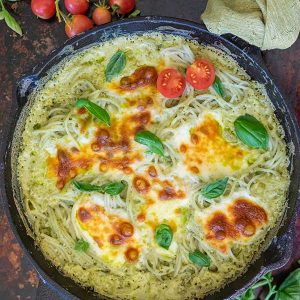 One Skillet Gluten-Free Alfredo Basil Pasta Dinner
