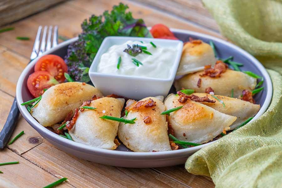 Gluten-Free Potato, Bacon, Onion & Parmesan Perogies