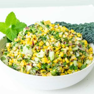 Grilled Corn Salad With Cucumber & Minty Cilantro Vinaigrette