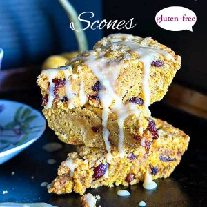 Gluten-Free Pumpkin Cranberry Scones With Nutmeg Glaze