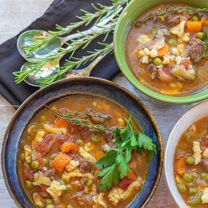 Instant Pot Beef And Vegetable Soup With Gluten-Free Mini Dumplings