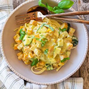 Squash With Pesto Cream Sauce Pasta (Gluten-Free)