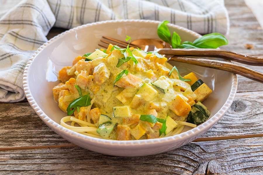squash pesto cream sauce pasta, gluten free