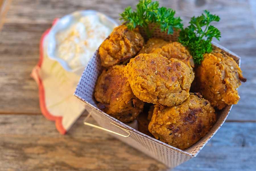 baked yam falafel, gluten free