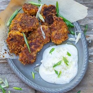 Gluten-Free Oven Fried Cajun Popcorn Chicken with Creamy Feta Sauce