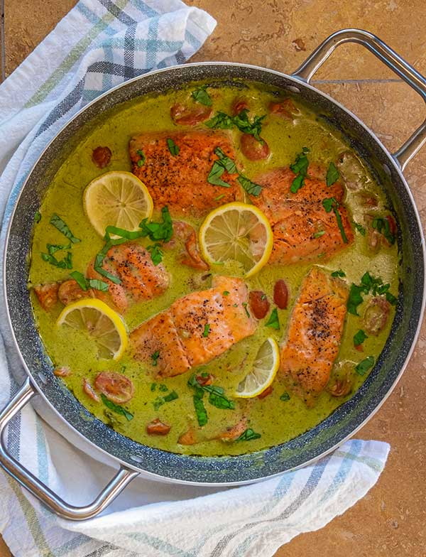 Healthy Coconut Pesto Salmon