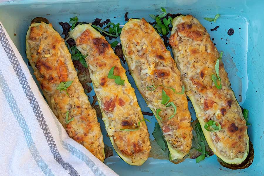 stuffed zucchini, low carb
