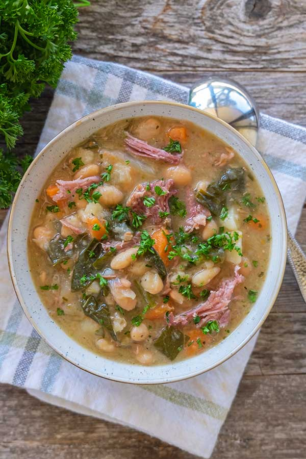 Instant Pot White Bean Soup Ham and Collards