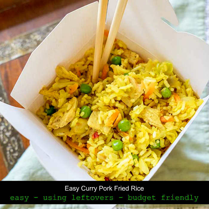 take out recipes, curry pork fried rice, gluten free