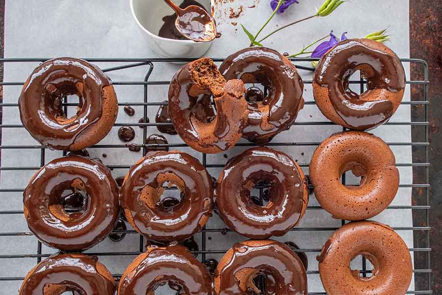baked chocolate donuts, gluten free