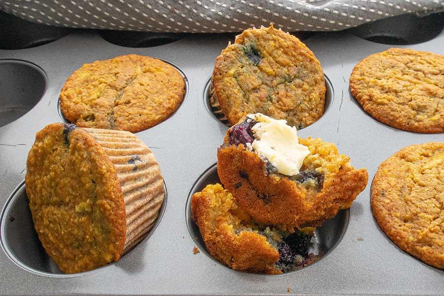 gluten free blueberry apple corn muffin
