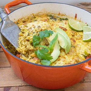 One Skillet Cheesy Brazilian Chicken Rice Bake