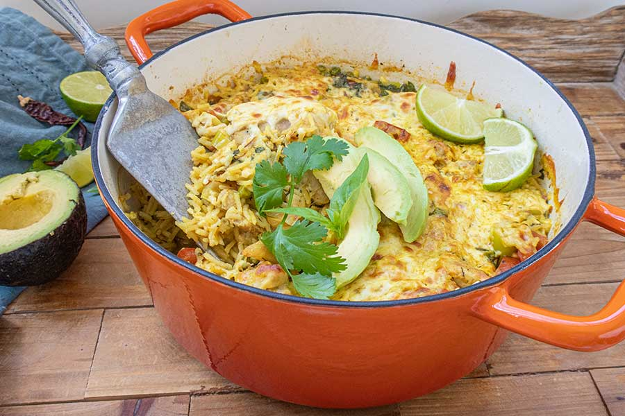 Brazilian chicken rice bake dinner