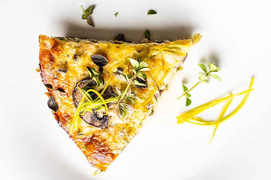 crustless quiche with leeks mushrooms and fontina