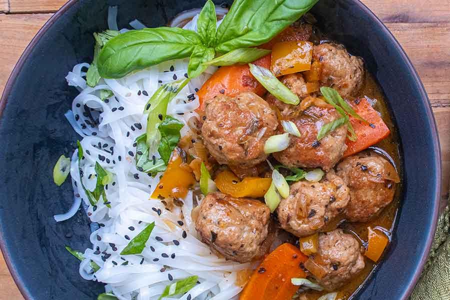 Sticky Thai Meatballs, gluten free