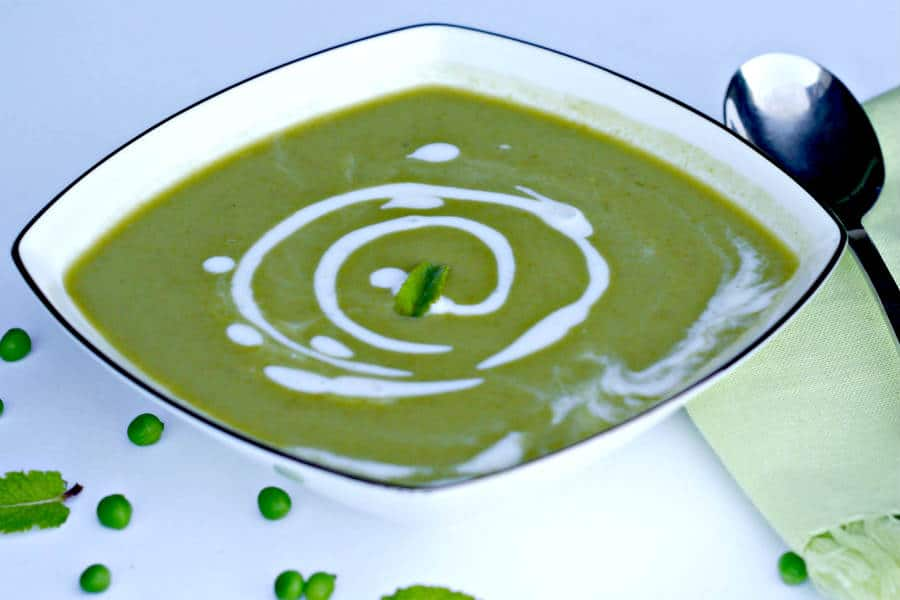 mint pea soup, chilled