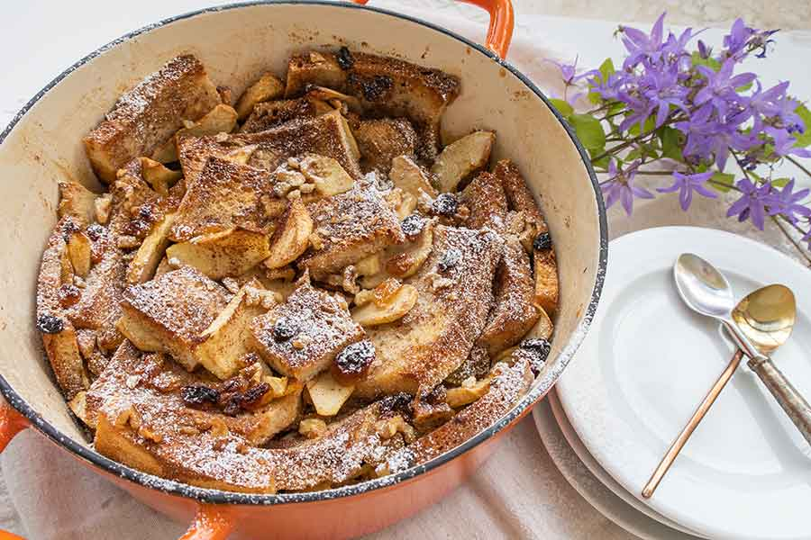 gluten free apple bread and butter pudding