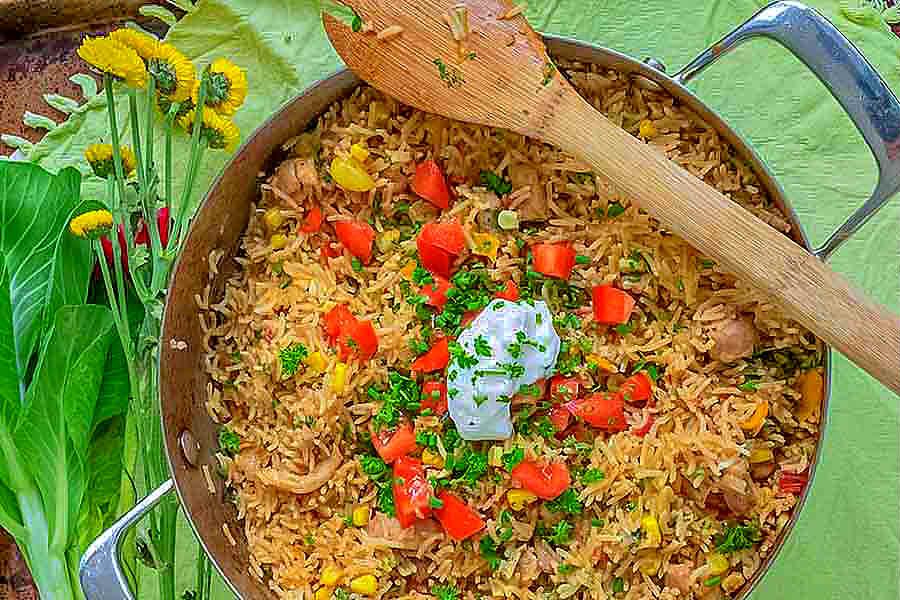 one pan, taco rice chicken dinner